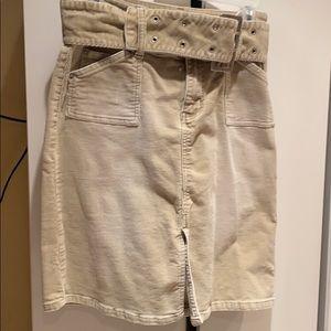 R4R Jeans corduroy tan midi skirt size 9
